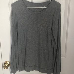 Grey long sleeve top with heart stitching detail